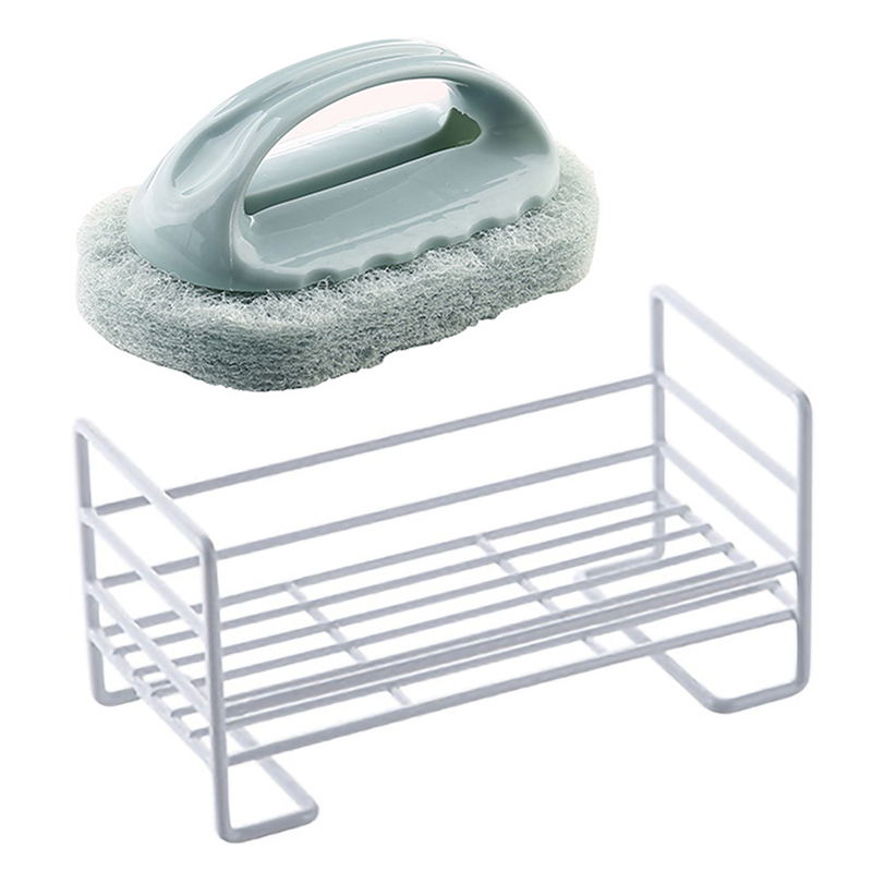 2 Pcs Kitchen Supplies: 1 Pcs Wrought Iron Sponge Storage Rack Pool Rag Debris Drain Rack with Tray & 1 Pcs Handle Kitchen Decon|Racks & Holders| |  - title=