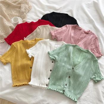 Ruffles Sweater Women summer V-neck crop Cardigan Short Sleeve chic button up Crop Top Croped Basic kawaii Tops v neck belt button up waistcoat