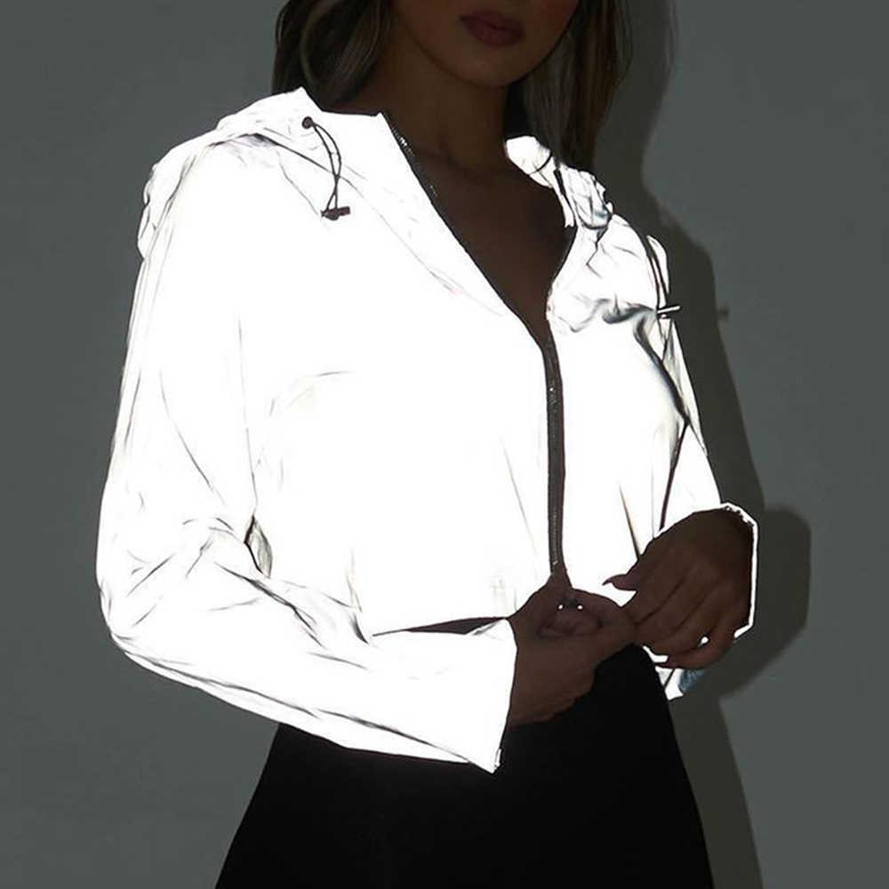 2019 jesień odblaskowe kobiety kurtka na co dzień sportowe z kapturem krótki płaszcz kobiety Crop Top Casaco Feminino Sudadera kobiet Streetwears