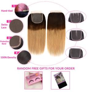 Image 5 - Honey Blonde Ombre Straight Hair Bundles With Closure Human Hair 3 4 Bundles With Closure Remy Brazilian Hair Weave Bundles