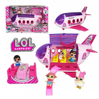 LOL Surprise Dolls Dress Up Deluxe Model Airplane Room Suit Action Figures Furniture Amusement Set Kids Toys for Children 2S46
