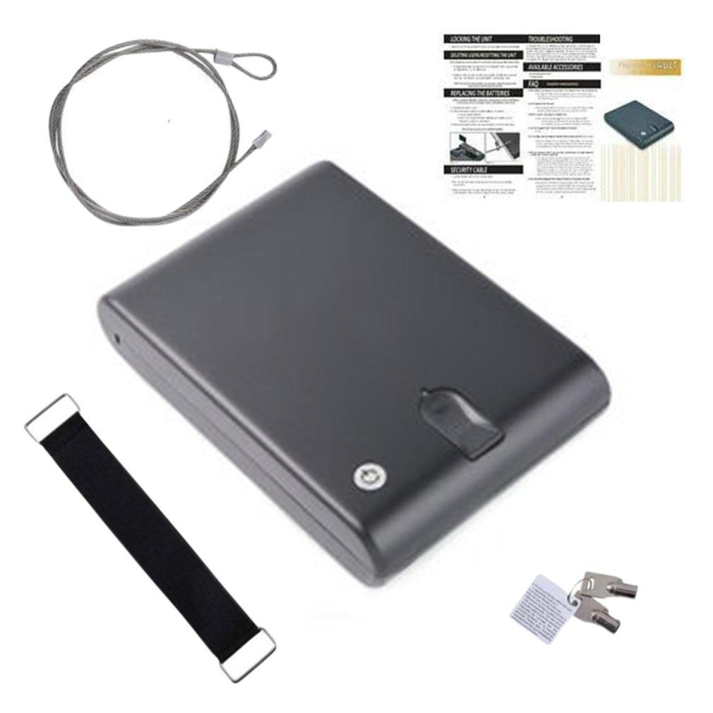 Coffre-fort d'empreintes digitales clé de sécurité en acier solide Gunsafe objets de valeur boîte de rangement de bijoux portable biométrique coffres-forts d'empreintes digitales Gunbox