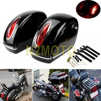 1 Pair Motorcycle Side Boxs Luggage Tank Tail Tool Bag Hard Case Saddle Bags Red Tail Light For Harley Roadster Road King Custom