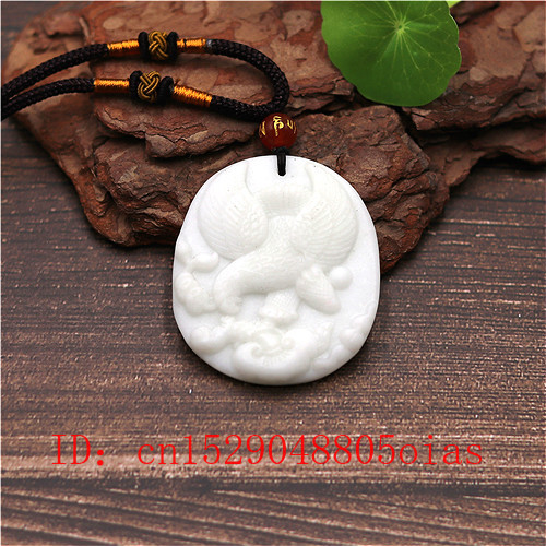 Natural White Chinese Jade Eagle Pendant Necklace Charm Jewellery Fashion Accessories Carved Amulet Gifts For Women Men