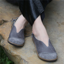 Women Leather Loafers Low Heels Spring Shoes Women Gray Flats Slip On Genuine Leather Women Flats Retro Shoes Handmade 2020 Sale(China)