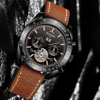 BOYZHE Military Mechanical Watch Men Tourbillon Automatic Watches Mens Clock Mechanism Skeleton Wristwatch Sports Horloge Mannen