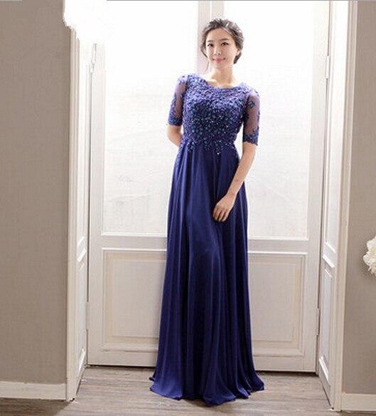 Formal 2018 Lace Appliques Beading Chiffon Long Evening With Short Sleeve Vestido De Festa Longo Mother Of The Bride Dresses