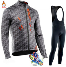 2019 Northwave Winter Thermal Fleece Cycling Jersey Set Warmer Ropa Ciclismo Men Long Sleeve MTB Cycling Clothing Triathlon Suit(China)