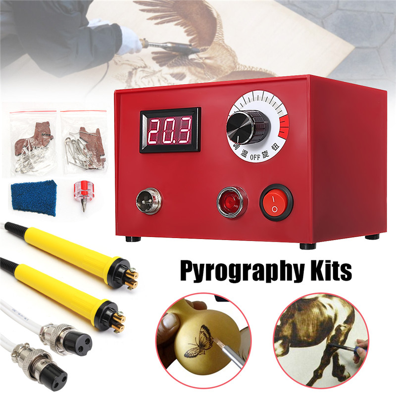 New 50W Digital Multifunction Pyrography Machine Gourd Wood Pyrography Crafts With 2Pcs Solder Pens For DIY Craft Working Tool