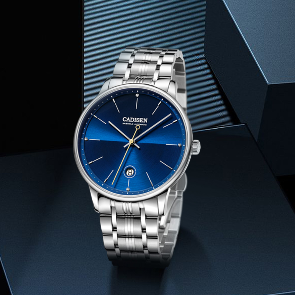 CADISEN Brand Luxury Men Watches Automatic Black Watch Men Stainless Steel Waterproof Business Sport NH35A Mechanical Wristwatch
