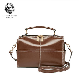 LAORENTOU women leather bag  2020 new fashion one shoulder messenger bag Boston bag