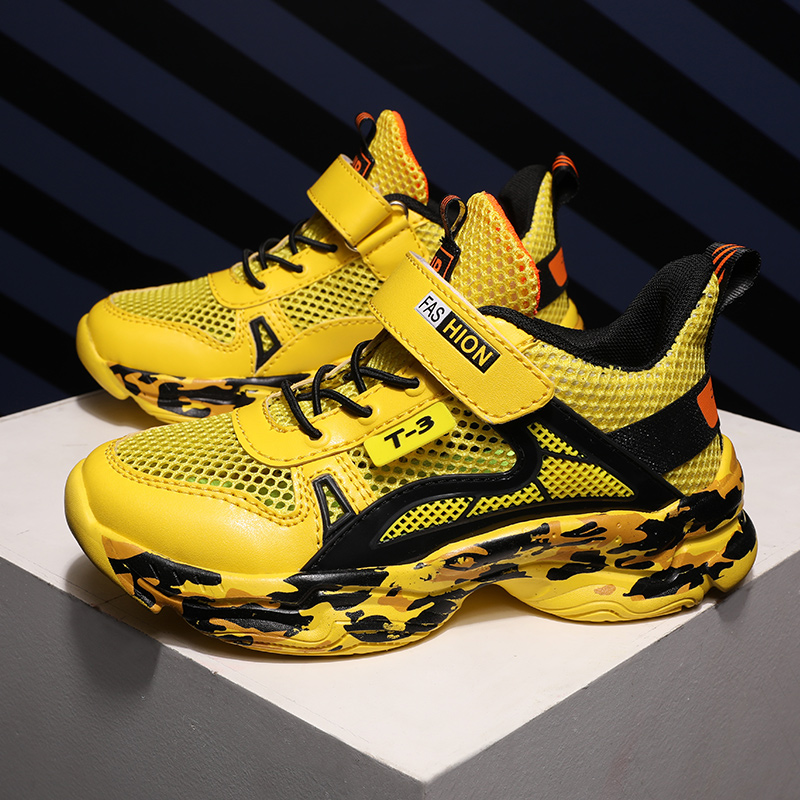 2020 New Teenager Sneakers For Boys Yellow Children Boy Sport Shoes Brand Boy Flat Toddler Shoe Breathable Mesh Kid Casual Shoes