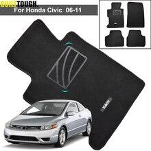 4 pçs para honda civic mk8 2006   2011 tapetes do assoalho carro preto náilon frente traseira acessórios carro protetor 2007 2008 2009 2010