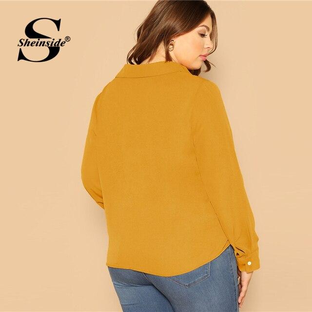 Sheinside Plus Size Elegant Front Twist Detail Blouse Women 2019 Autumn Long Sleeve Blouses Ladies Yellow Minimalist Top 1
