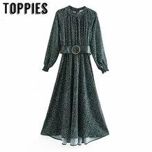 Ladies Belt Elegant Party Dress Winter Long Sleeve Maxi Dress