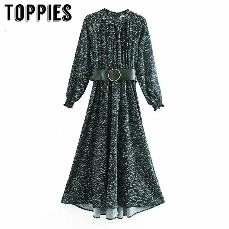Senhoras cinto elegante vestido de festa inverno manga longa maxi vestido feminino o-pescoço a linha vestidos dot impressão