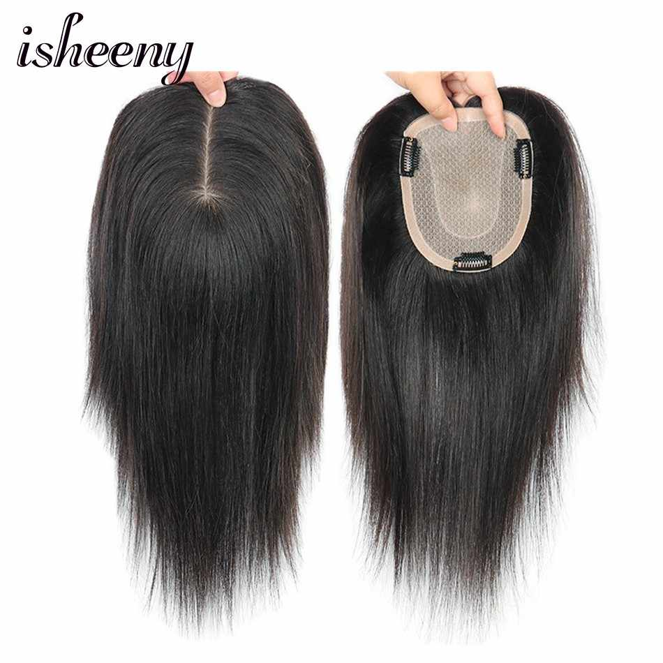"isheeny 12*14 Toupee System Human Hair Topper 8""-12"" Natural Black Brown Fine Nomo Base 45g For Women"