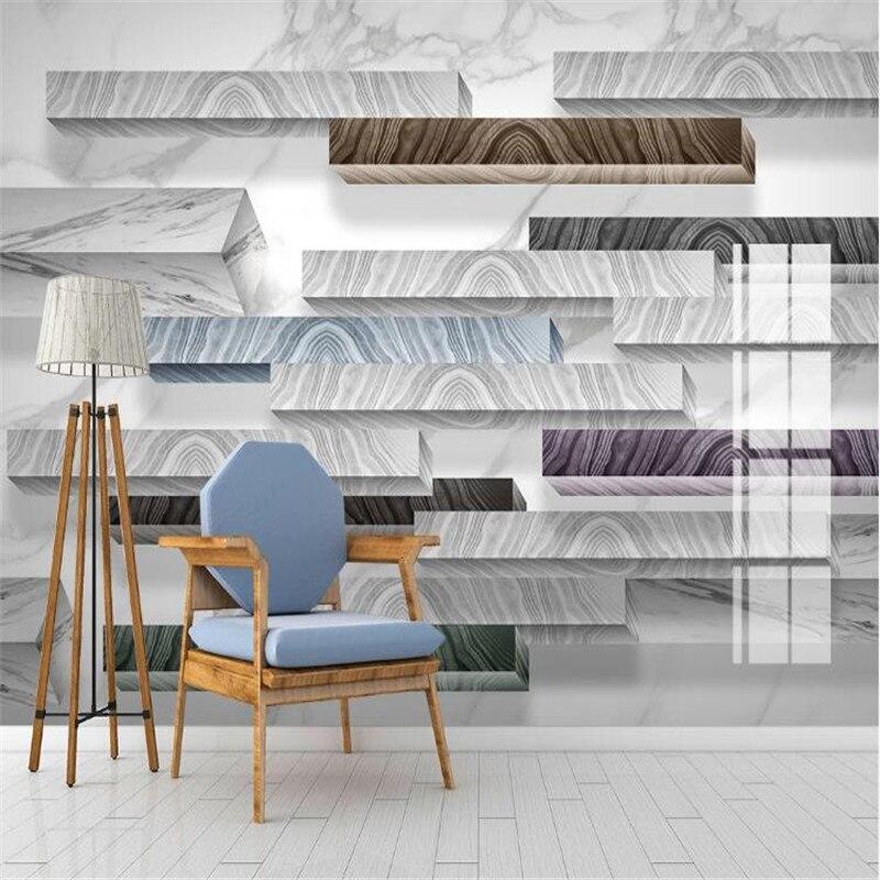Large 3D Wallpaper Mural Custom Jazz White Geometric Marble 3D Stereo TV Sofa Background Wallpaper Mural