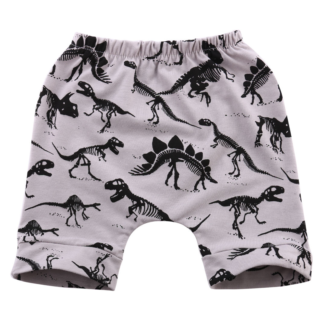 Fahsion Grey Dinosaur Short Pants Baby Kids Boys Trouser Bottoms Toddler Sweat Children Summer Harem Short Pant 0-4Y