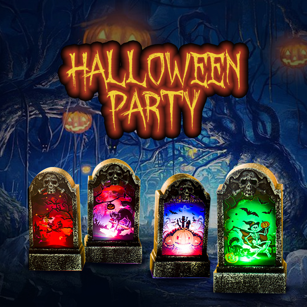 Holiday Light Unique Retro Imitation Delicate Four Kinds Tombstone Color Changing Function Halloween Party Decoration Lamp