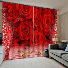 Роскошные 3D оконные занавески s гостиная свадебные красные шторы для спальни Роза занавески