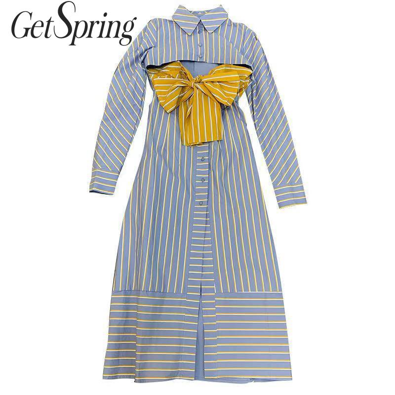 GetSpring femmes robe rayé à manches longues simple boutonnage longue robe Bow évider taille haute Vintage robe automne hiver 2019