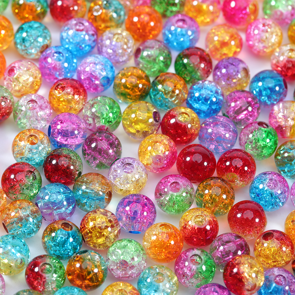 8mm 10mm 12mm Big Hole Mix Color Glass Beads Round Loose Beads DIY Bracelet Earrings Charms Necklace Beads For Jewelry Making(China)