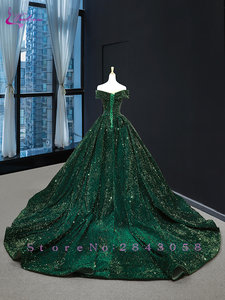 Image 2 - Waulizane Strapless Ball Gown Quinceanera Dress Of Sequin Lace Dark Green Quinceanera Gown
