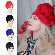Muslim Women Big Flower Turban Hats Cancer Chemo Beanies Cap Hijab Pleated Wrap Head Cover Hair Loss Accessories