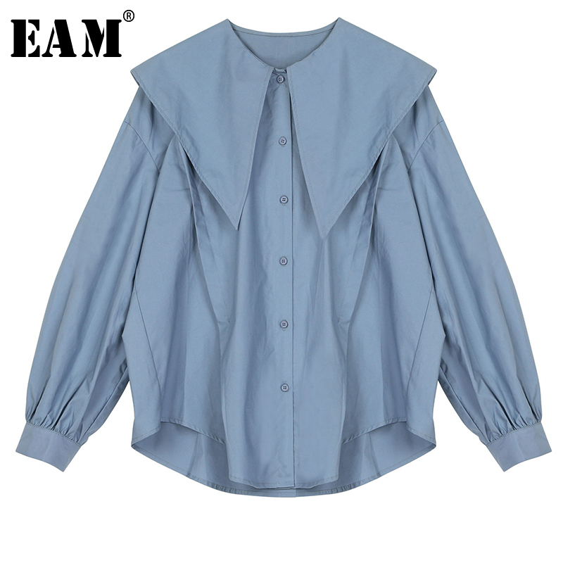 [EAM] Women Blue Temperament Big Size Blouse New Lapel Long Lantern Sleeve Loose Fit Shirt Fashion Tide Spring Autumn 2020 1R893