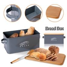 Boîtes de rangement bacs à pain avec bambou planche à découper couvercle métal galvanisé boîte à collation poignées conception cuisine conteneurs décor à la maison