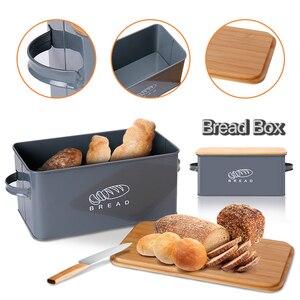 Image 1 - Saklama Kutuları Ekmek Kutuları Bambu Kesme Tahtası Ile Kapak Metal Galvanizli aperatif kutusu Kolları Tasarım Mutfak Konteynerler Ev Dekor