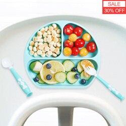 Baby Siliconen Kom Sucker Kom Kinderen Voeden Siliconen Plaat Baby Silicagel Gerechten Het Kan Worden Gebruikt Met Lepel, vork En Stro