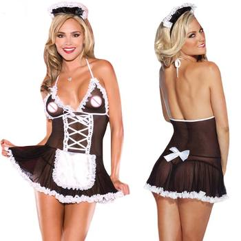 Plus Size Sexy Erotic Lingerie Cosplay Costumes Underwear Temptation Maid Uniform Baby Doll Sexy Lingerie Women Exotic Apparel image