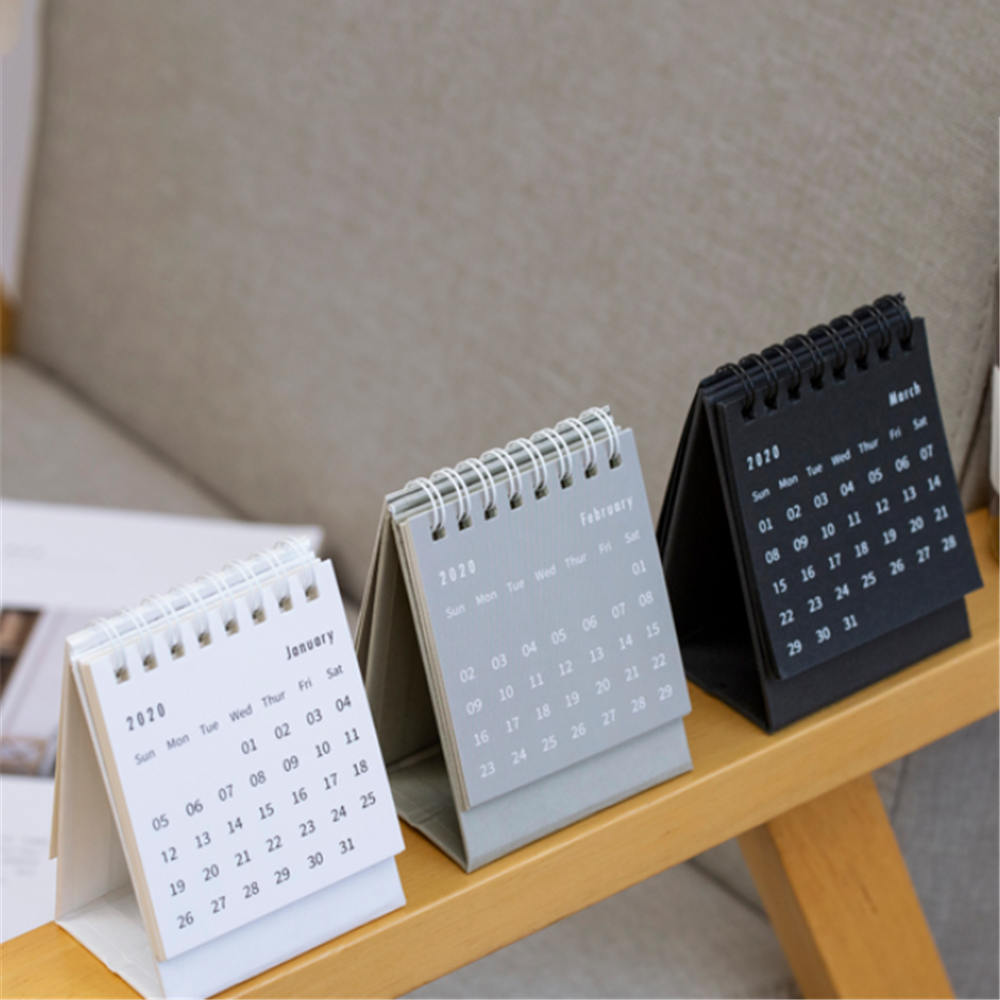 US $1.14 34% OFF 2020 Simple Fashion Black White Grey Series Desktop Calendar Dual Daily Schedule Table Planner Yearly Agenda Organizer Office in