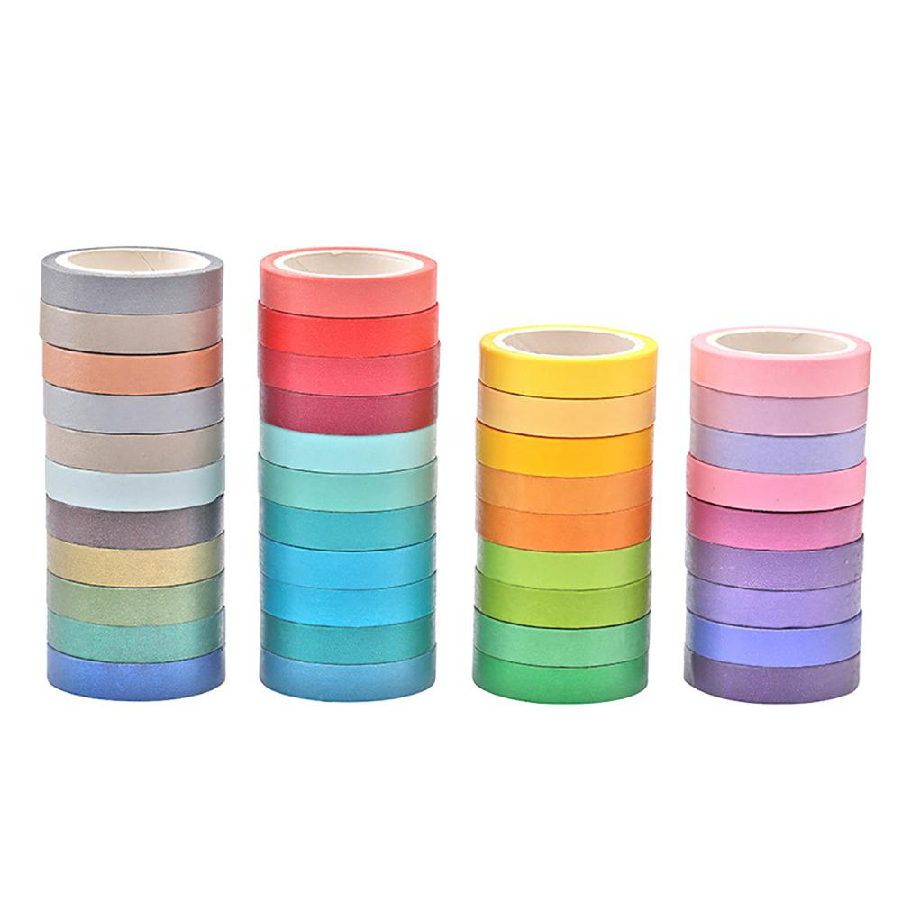 40 Adhesive Tape Bright Colors Washi Tape Masking Tape Stationery Sticker Stick Label DIY Craft Decoration Diary Vivid Color