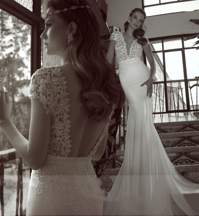 Romantic Lace Backless Wedding Dresses Mermaid Trumpet V Neck Short Sleeves Beads Pearls 2019 Bridal Gown Vestido De Noiva