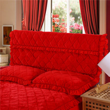 Thickening Winter Warm Bedside Cover Pure-color Velvet-cotton Dust-proof Bed spread