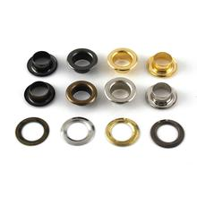 100sets 6mm Brass Eyelet with Washer Leather Craft Repair Grommet Round Eye Rings For Shoes Bag Clothing Leather Belt Hat