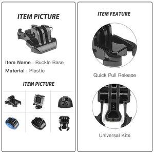 Image 3 - Shoot frente lado capacete acessórios conjunto j em forma de fivela base suporte de montagem para gopro hero 9 8 7 5 xiaomi yi 4k sjcam go pro kits