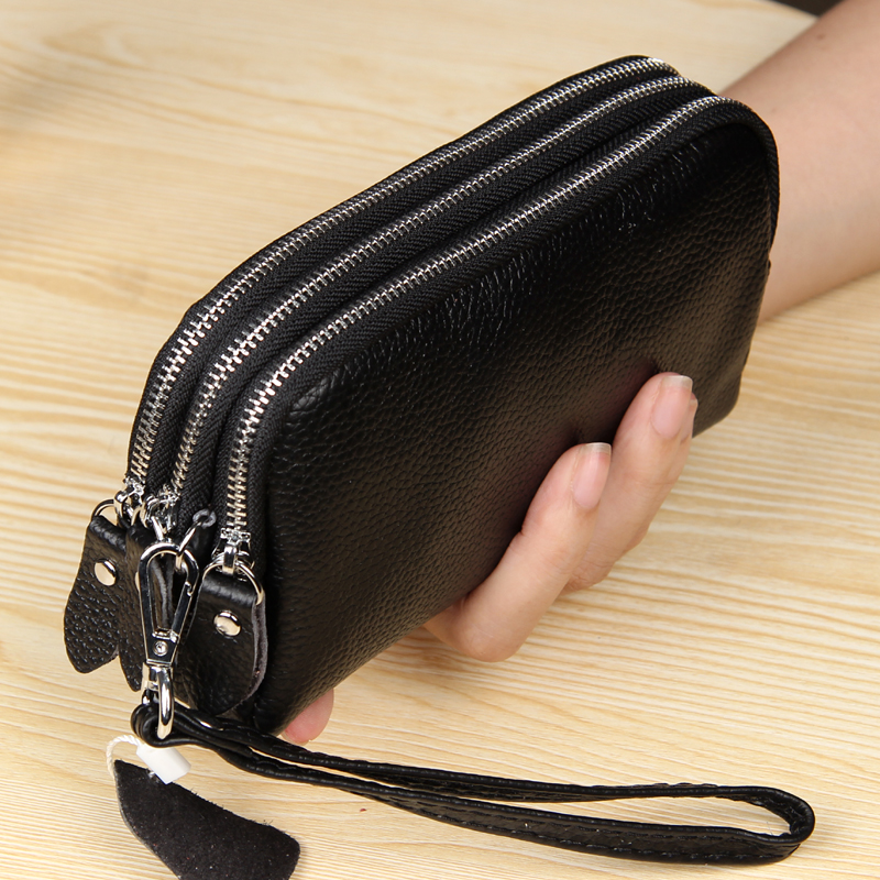 MJ Women Long Wallet Genuine Leather 3-Layer Zipper Purse Bag Large Capacity Wristlet Clutch Wallets Phone Bag Money Purses
