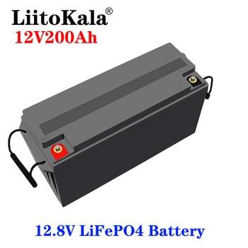LiitoKala-batería LiFePO4 de 12V, 200Ah, para RV, camping, coche de Golf, resistente al agua para barcos y pequeñas embarcaciones, 3000 ciclos, energía Solar fuera de la red, 150A BMS 1
