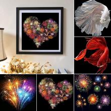 30x30cm Fireworks/Carp Environmental Canvas Cross Stitch Craft Full Round Diamond Painting Embroidery Abstracting designs square