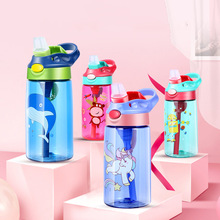 Cartoon 480ml Kids Feeding Sippy Plastic Cups Bouncing Cover Sports Water Bottle with Straw Eco-friendly BPA Free Drinkware