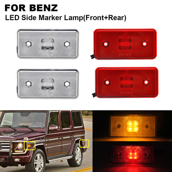 4PCS LED Side Marker Turn Signal Light For BENZ W463 02-14 2PCS x Clear Front Amber 2PCS x Red Rear Red Side Indicator Lamp