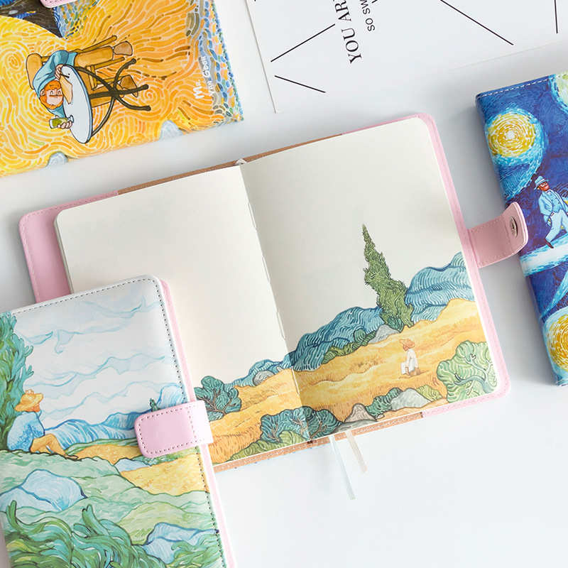 1pc A5 Van Gogh Cute Leather Pocket Bullet Journal Planner Filofax Weekly Diary Travelers Notebook With Colored Pages Stationery