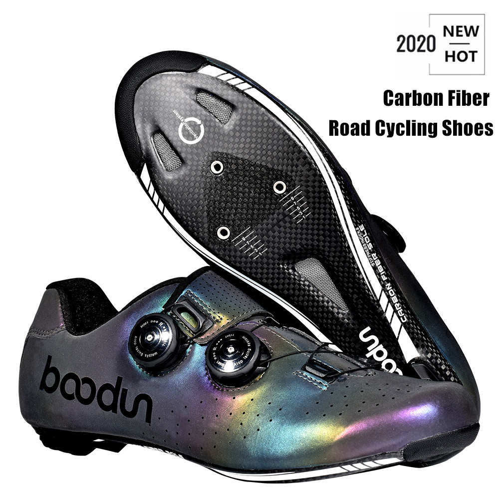 2020 New Road Cycling Shoes Photochromism Vamp Carbon Fiber Ultralight Self-Locking Shoes Professional Road Bicycle Racing Shoes