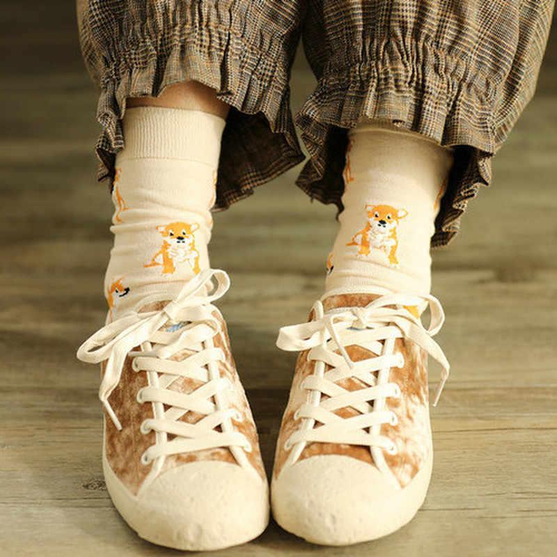 2019 ใหม่น่ารักคาวาอิการ์ตูนผู้หญิงถุงเท้าผ้าฝ้ายผู้หญิงตลกสุนัข Corgi น่ารักสัตว์รูปแบบถุงเท้าสบายๆ Harajuku