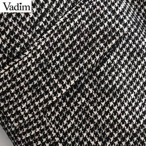 Image 5 - Vadim women formal houndstooth tweed blazer double breasted long sleeve pockets coats office wear casual tops CA601