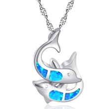 Fashion Blue / White Opal Dolphin Theme Pendant Necklace Silver Wedding Jewelry Gift